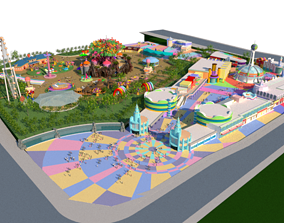 Cartoon colorful childrens theme park many 3D model 1