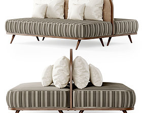 3D model Two-seater restaurant sofa TM3 double side