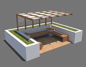 Pergola With Seating Sheltered Corner 3D model
