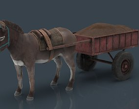 DONKEY WITH CART 3D asset low-poly