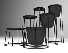 3D model Wire Plant Pot and Wire Side Table