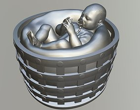 Baby in the basket 3D print model art