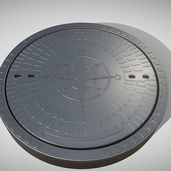 Sewer Cover 4 High-Poly (Blender-2.91 Eevee)
