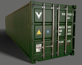 PBR 40 ft Shipping Cargo Container - Green Dark 3D model
