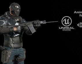 Raider 3D model animated