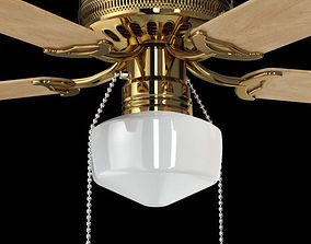 Brass Decorative Ceiling Fan 3D model