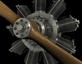 3D French Gnome 9N Monosoupape rotary engine