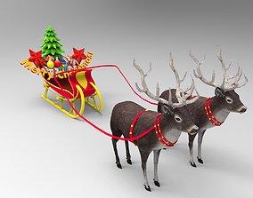 3D model Deer Santa Sleigh