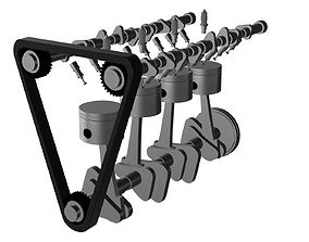 3D model PISTONS TIMING BELT CAMSHAFT CRANKSHAFT SPARK