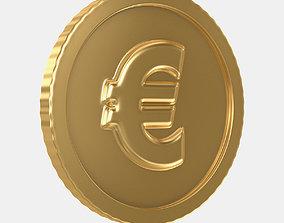 3D model VR / AR ready Euro Coin
