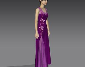 3D clothing Purple Dress
