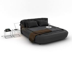 Retro Brown Cushioned Bed 3D