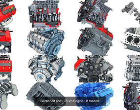 Sectioned and Full V8 Engine 3D model