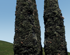 3D model Tree cypress for distance view adapted for games