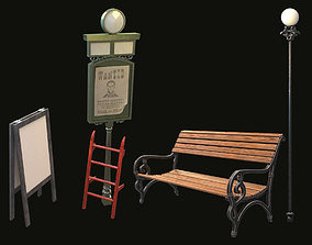 3D model bench pointer stairs stand collection for the