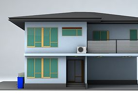 3D asset Japanese Suburban Rural House 3 Game