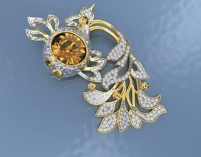 3D print model Brooch Gold Fish with Gems