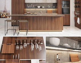 Cocina Gamadecor roble torrefacto 3D model