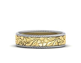 Nature design ring Wedding band Engraved Flowers design
