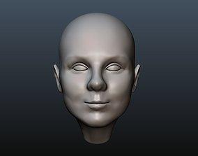 3D print model Female head 4 Bald girl