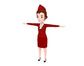 3D model CartoonGirl017 AirHostess