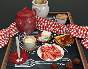 breakfast set with toast bacon tomatos 3D