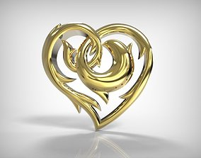 3D print model Jewelry Golden Heart Shape Pendant
