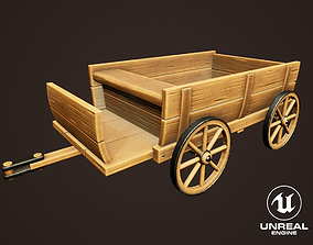 Stylized Western Wooden Carriage 3D asset
