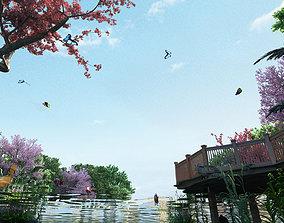 3D Lakeside park scenery 001