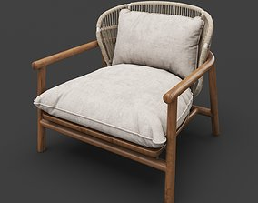 3D Unique wooden and upholstered chair