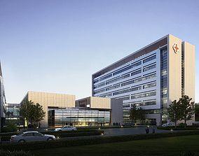 3D Modern grey hospital building 001