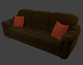 3D model Couch and Pillows - Brown Velvet