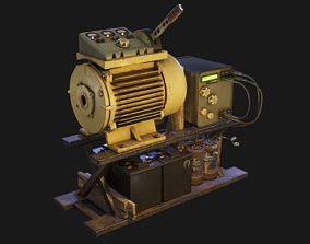 Post-apocalyptic engine 3D asset