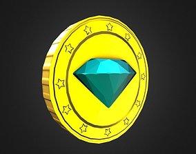 Game-Ready Blue Gem Gold Coin Asset 3D model