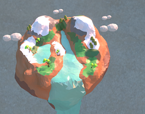 animated low poly 3d island