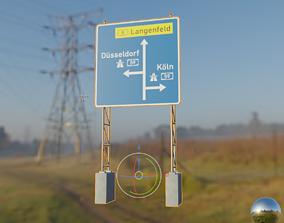 German Traffic Sign 440 Vorwegweiser zur Autobahn 3D asset
