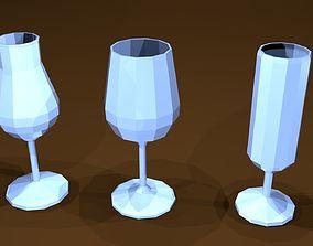 Low poly glasses 3D asset