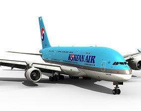 3D model realtime Airbus A380-800 Korean Air