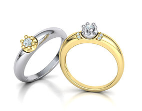 Promise Solitaire Ring 3mm stone Two shank type 3dmodel