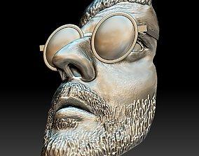 Leon killer portrait bas-relief stl file 3D print model