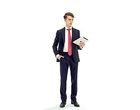 Standing Business Man Reading Tablet 3D model