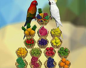 3D asset Fruits and Parrots
