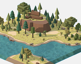3D asset Isometric style summer mountain landscape river