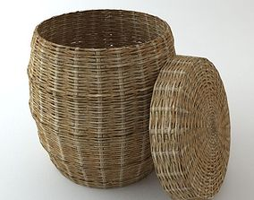 Wicker Basket with Cover 3D