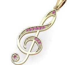 beautyful pendant treble clef 3D printable model