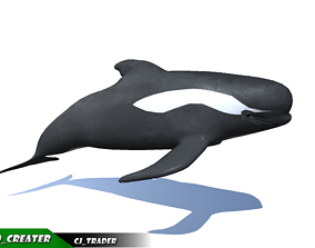Low-Poly Long finned Whale Rigged Animated 3D animated