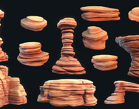 3D asset Stylized Desert Rock collection
