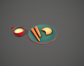 3D model Santa Snack Plate - Red Cup and Blue Plate