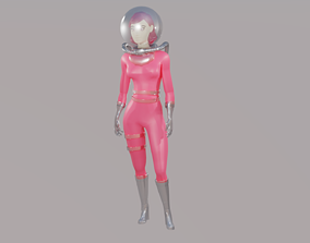 Cute Astronaut Girl rigged Animated Gameready 3D asset