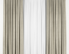 drapes 3D model Beige curtains with tulle